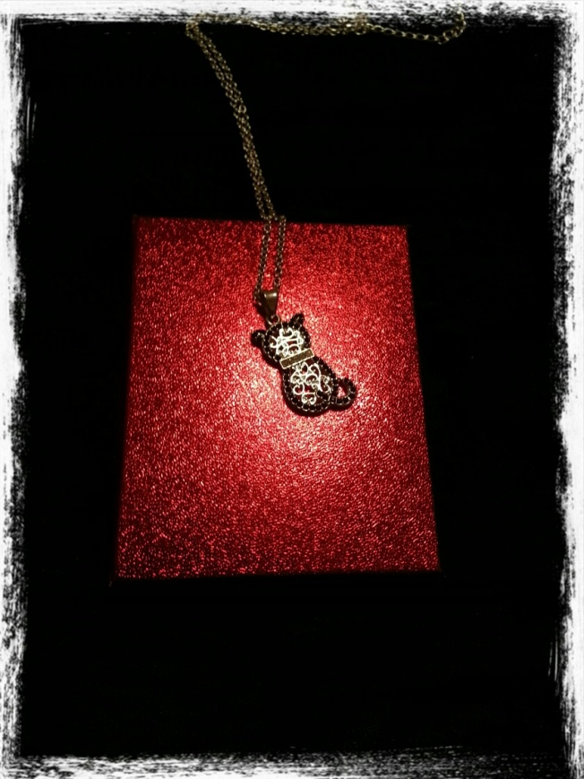 dear daughter  gave me a cat necklace in a RED box for my birthday!