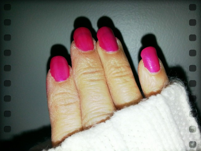 {my hot pink nails today}