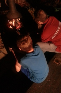 it got dark, papa and grandson E roasting marshmallows!
