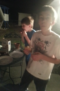 grandson's stuffing their mouths with s'mores